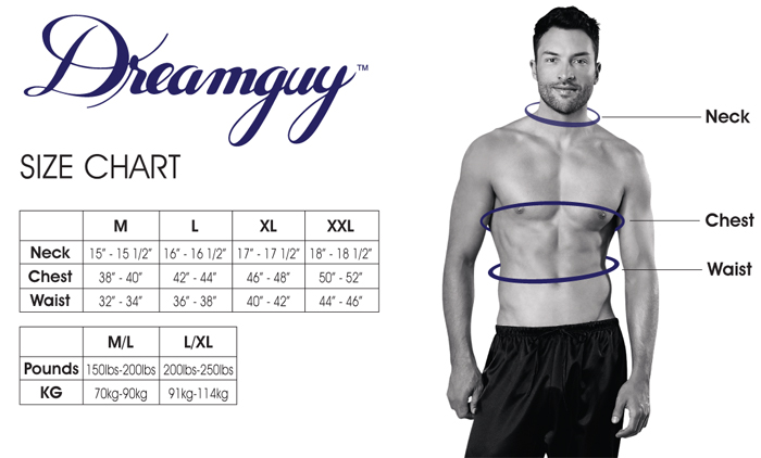 Dreamguy Size Chart